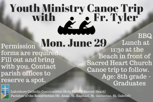 Youth Ministry Canoe Trip with Fr. Tyler
